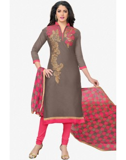 Festival Wear Brown Chanderi Salwar Suit - 16770