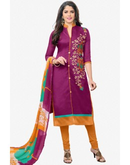 Office Wear Purple Chanderi Salwar Suit - 16773