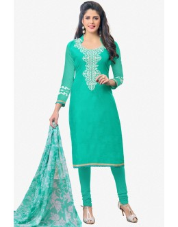 Light Green Chanderi Embroidery Salwar Suit - 16775