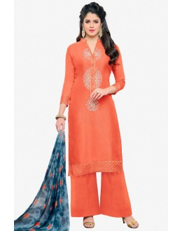 Casual Wear Orange Chanderi Palazzo Suit - 16777