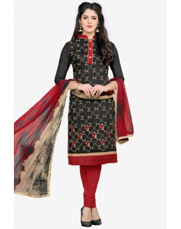 Ethnic Wear Black Chanderi Salwar Suit - 16781