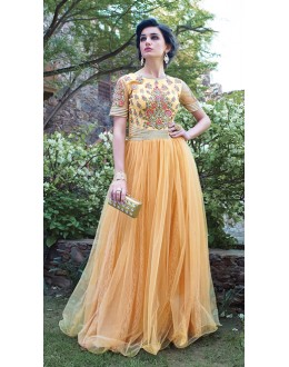 Light Orange Colour Net Attractive Gown - 16785