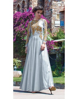 Wedding Wear Off Blue Net Gown - 16786