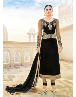 Party Wear Black Velvet Salwar Suit  - 16793