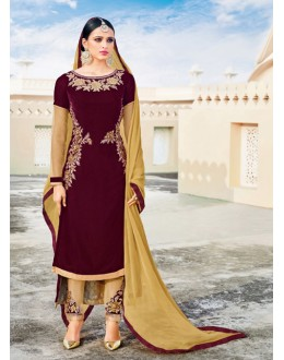 Festival Wear Brown Velvet Salwar Suit  - 16798