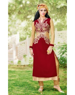 Wedding Wear Red Velvet Salwar Suit  - 16801
