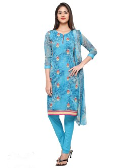 Sky Blue Georgette Embroidery Salwar Suit - 16813
