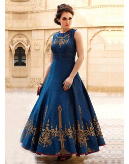 Party Wear Readymade Blue Pure Georgette Gown - 16876