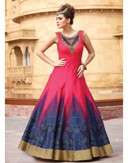 Party Wear Readymade Pink Pure Taffeta Gown - 16881