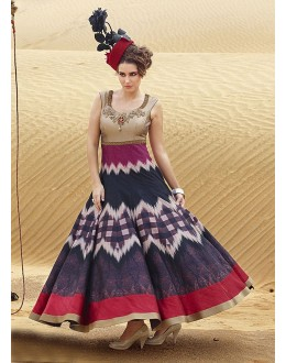 Ready-Made Multi-Colour Pure Bhgalpuri Gown - 16887