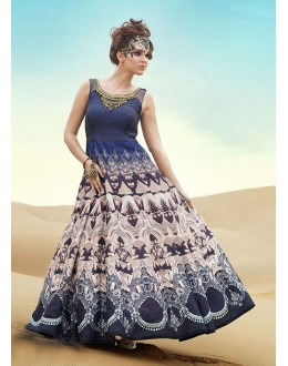 Ready-Made Multi-Colour Pure Bhgalpuri Gown - 16889