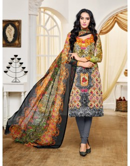 Festival Wear Multi-Colour Satin Cotton Salwar Suit - 16890