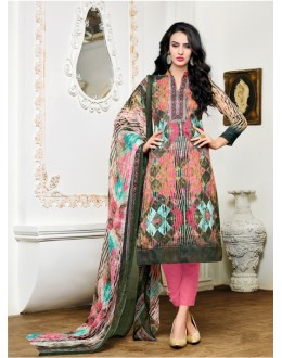 Office Wear Multi-Colour Satin Cotton Salwar Suit - 16893