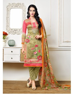 Green Colour Satin Cotton Printed Salwar Suit - 16894