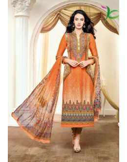 Office Wear Orange Satin Cotton Salwar Suit - 16895