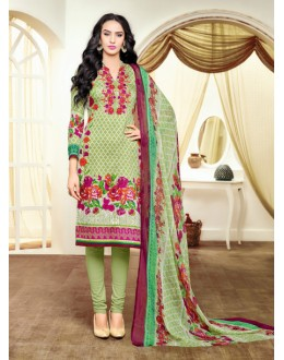 Satin Cotton Green Printed Salwar Suit - 16896