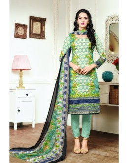Festival Wear Green Satin Cotton Salwar Suit - 16899
