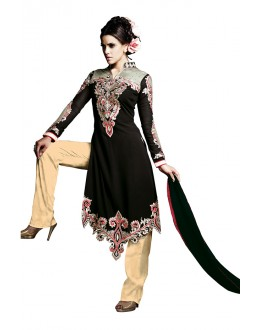Party Wear Black Georgette Salwar Suit  - 16907
