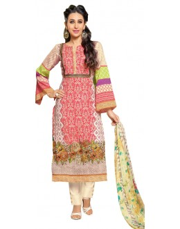 Karishma Kapoor In Multi-Colour Cotton Satin Salwar Suit  - 17012