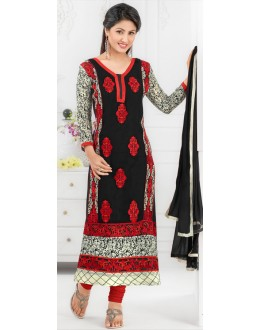 Hina Khan In Sky Black Georgette Salwar Suit - 17026