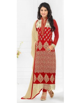Hina Khan In Red Georgette Salwar Suit - 17029
