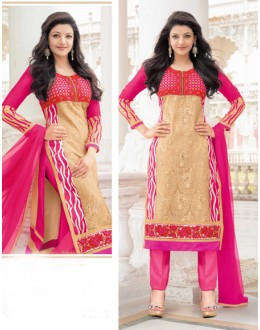 Office Wear Pink & Cream Georgette Salwar Suit - 17038