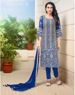 Karishma Kapoor In Blue Georgette Salwar Suit  - 17053