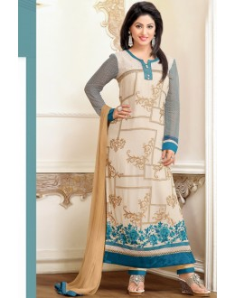 Hina Khan In Cream Georgette Salwar Suit - 17062