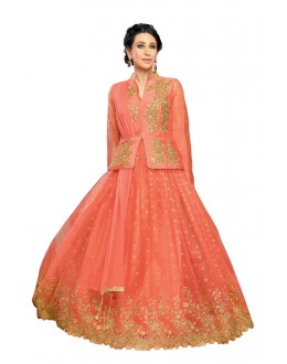 Karishma Kapoor In Pink Net Anarkali Suit  - 17066