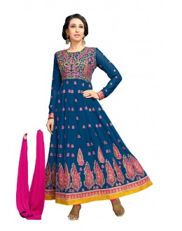 Karishma Kapoor In Blue Georgette Anarkali Suit  - 17069
