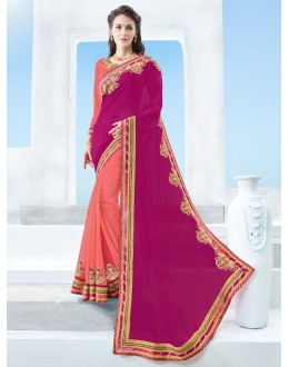 Ethnic Wear Multi-Colour Moss Chiffon Saree  - 17116