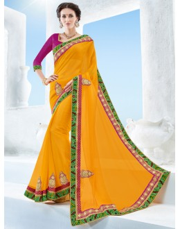 Yellow Colour Twill Chiffon Ethnic Saree  - 17117