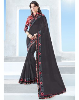 Black Colour Georgette Attractive Border Saree  - 17118