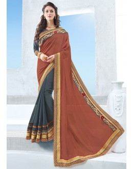 Multi-Colour Chiffon Half & Half Saree  - 17119