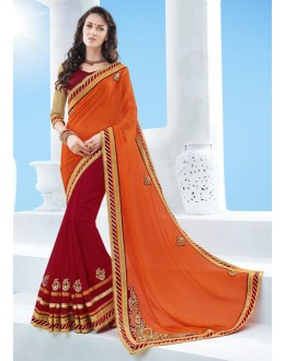 Orange & Red Moss Chiffon Saree  - 17120