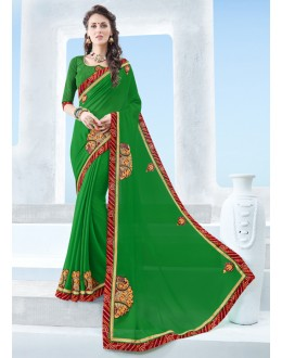 Ethnic Wear Green Twill Chiffon Saree  - 17121