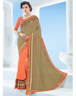 Party Wear Beige & Orange Moss Chiffon Saree  - 17122