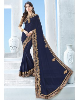 Festival Wear Blue Chiffon Saree  - 17123