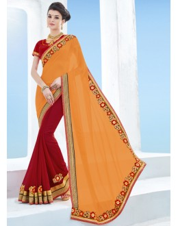Moss Chiffon Multi-Colour Half & Half Saree  - 17124