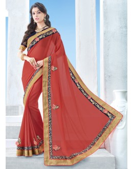 Festival Wear Red Chiffon Saree  - 17125