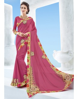 Pink Colour Chiffon Designer Saree  - 17126