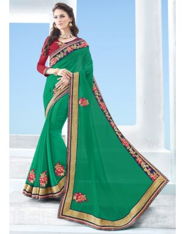 Casual Wear Green Georgette Saree  - 17127
