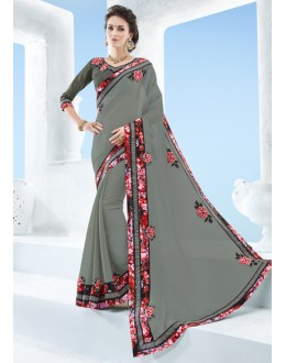 Moss Chiffon Grey Attractive Border Saree  - 17129