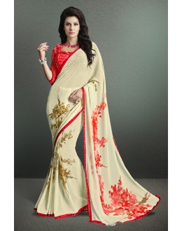 Ethnic Wear Cream Georgette Saree  - 17146
