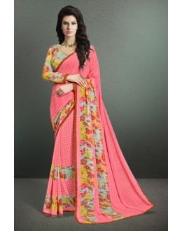 Festival Wear Pink Georgette Saree  - 17147