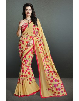 Beige Colour Georgette Printed Saree  - 17149