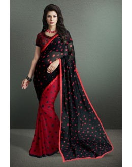 Georgette Black & Red Half & Half Saree  - 17150