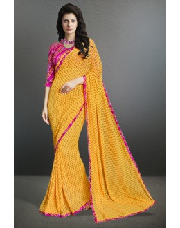 Casual Wear Yellow Georgette Saree  - 17152