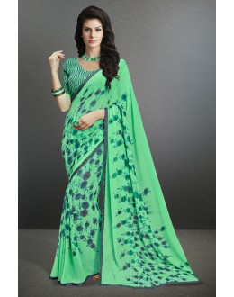 Ethnic Wear Light Green Georgette Saree  - 17154