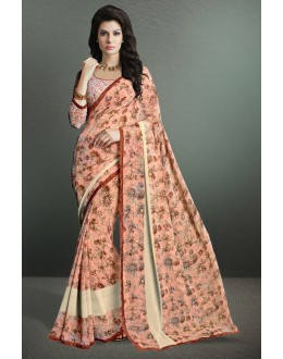 Light Pink Colour Georgette Printed Saree  - 17156